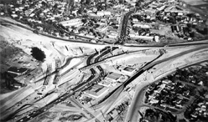 Construction of the I-680 and Highway 24 interchange, circa 1960
