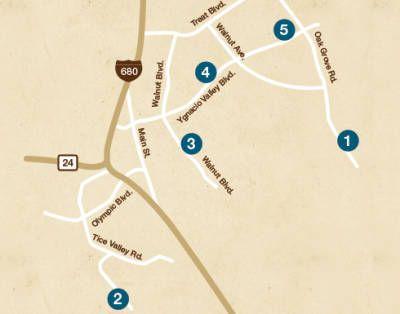 map of downtown walnut creek california