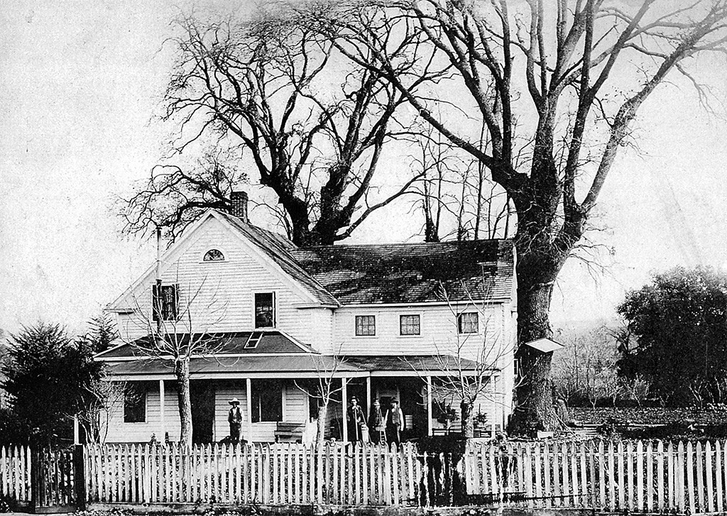 Botelho Home Pacheco Road (Main Street) 1880s – Here is the approximate location of the rear yard of the home of Antonio Botelho, who owned more than 300 acres of farm land at the southern end of town. Originally the Walnut Creek and Mt. Diablo Central Hotel, the building faced the road to Alamo (today's Main Street) and was refurbished by Botelho into a stately, spacious home.